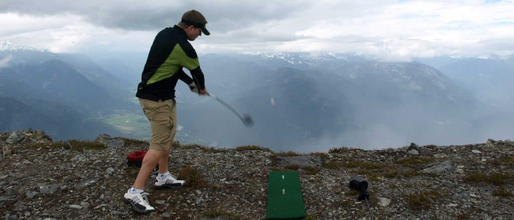 Golfer on 19th Hole on Mt Currie